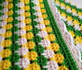 Green and Yellow Striped Baby Afghan