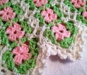 Pink, Green and White Baby Afghan